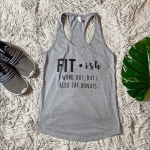 🎄next level grey fit-ish tank size m/l
